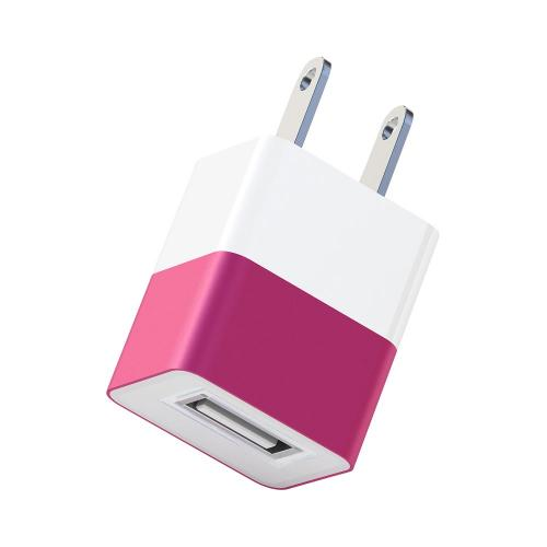 Universal Apple USB Input Travel/ Home Hi-Tech Wall Charger Adapter (2A) - Hot Pink (Can Charge iPad!)