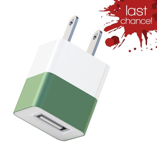 Universal USB Input Travel/ Home Hi-Tech Wall Charger Adapter (2A) - Green (Can Charge iPad!)