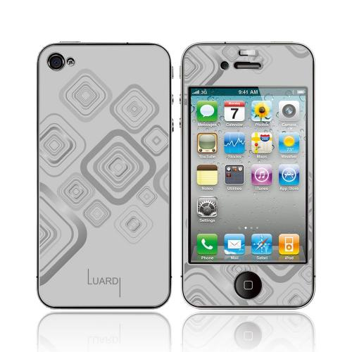 OEM Luardi Apple iPhone 4/4S 24 KT White Gold Plated Metallic Protective Skin - Squares