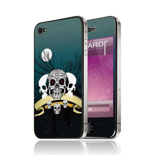 OEM Luardi Apple iPhone 4/4S Reusable Protective Skin - Triple Skulls at Night