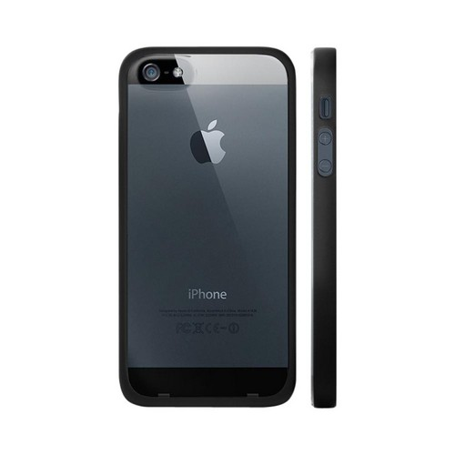 OEM Luardi Apple iPhone 5 Hard Back Case w/ Crystal Silicone Border & Screen Protector - Black