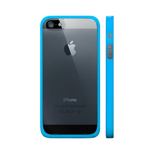 OEM Luardi Apple iPhone 5 Hard Back Case w/ Crystal Silicone Border & Screen Protector - Blue