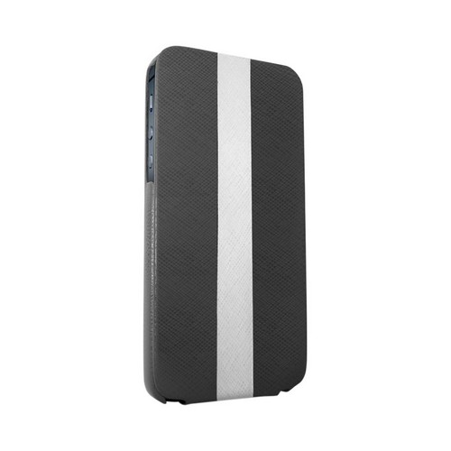 OEM Luardi Apple iPhone 5/5S Seamless Genuine Italian Leather Vertical Flip Pouch Case - Black/ White