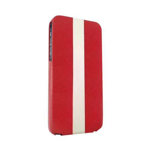 OEM Luardi Apple iPhone 5 Seamless Genuine Italian Leather Vertical Flip Pouch Case - Red