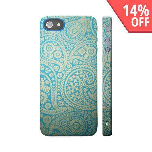 OEM Luardi Apple iPhone 5 Hard Case - Golden Paisleys on Blue