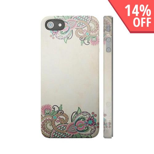 OEM Luardi Apple iPhone 5 Hard Case - Pink/ Green Bohemian Vines on White