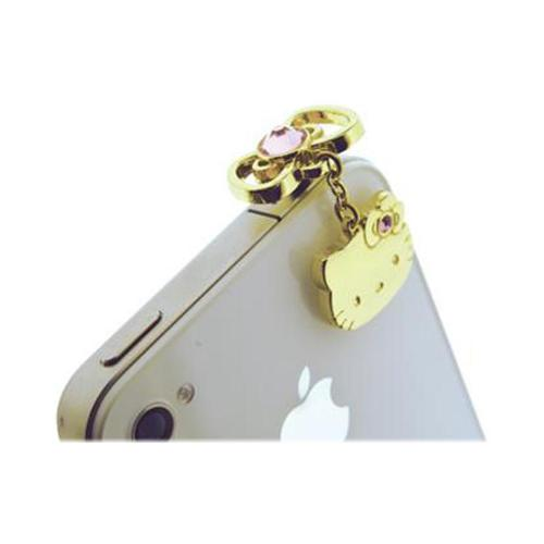 Officially Licensed Sanrio Hello Kitty iDress Universal 3.5mm Headphone Jack Stopple Charm - Gold w/ Pink Gems