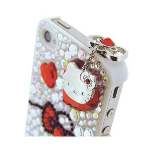 Officially Licensed Sanrio Hello Kitty iDress Universal 3.5mm Headphone Jack Stopple Charm - Silver w/ Red Gems
