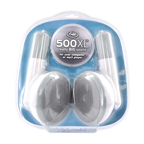 Original Fred & Friends Universal 500XL Desktop Earbud Speakers w/ USB Cable, 500XL - White/ Gray