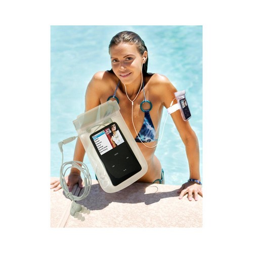 Thumbs Up! iSWIM Universal MP3 Player Waterproof Pouch w/ Waterproof Headphones - White