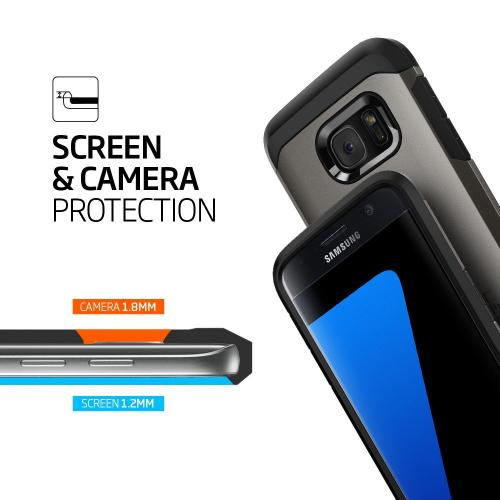 [Samsung Galaxy S7] Case, Spigen [Tough Armor] HEAVY DUTY Extreme Protection / Rugged but Slim Dual Layer Protective Case [Gunmetal]