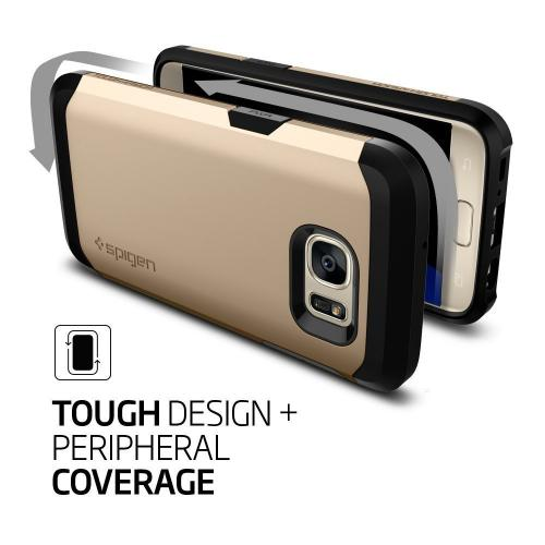 [Samsung Galaxy S7] Case, Spigen [Tough Armor] HEAVY DUTY Extreme Protection / Rugged but Slim Dual Layer Protective Case [Champagne Gold]
