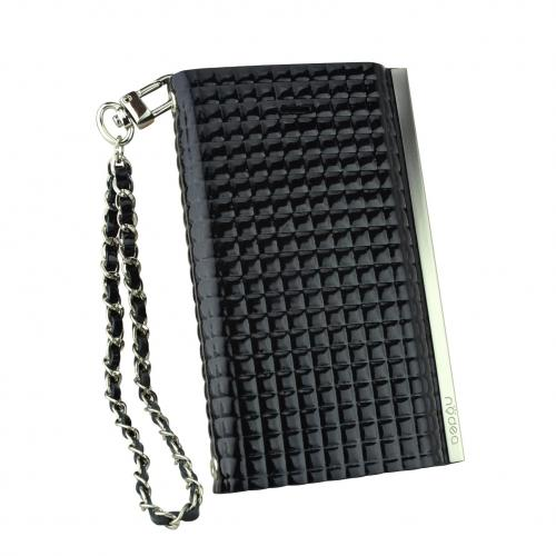 iPhone 5S Case Ella Enamel Series [Quilted Black] Slim & Protective Flip Cover Diary Case w/ ID Slots