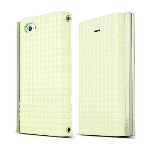 iPhone 5S Case Ella Enamel Series [Quilted White] Slim & Protective Flip Cover Diary Case w/ ID Slots