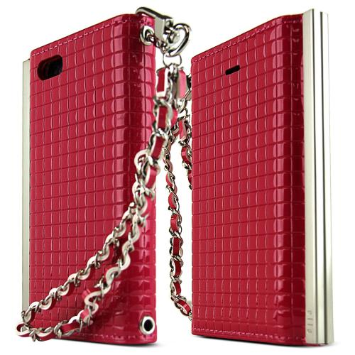 iPhone 5S Case Ella Enamel Series [Quilted Hot Pink] Slim & Protective Flip Cover Diary Case w/ ID Slots