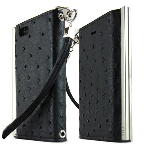 iPhone 5S Case Ella Ostrich Series [Black Faux Ostrich] Slim & Protective Flip Cover Diary Case w/ ID Slots