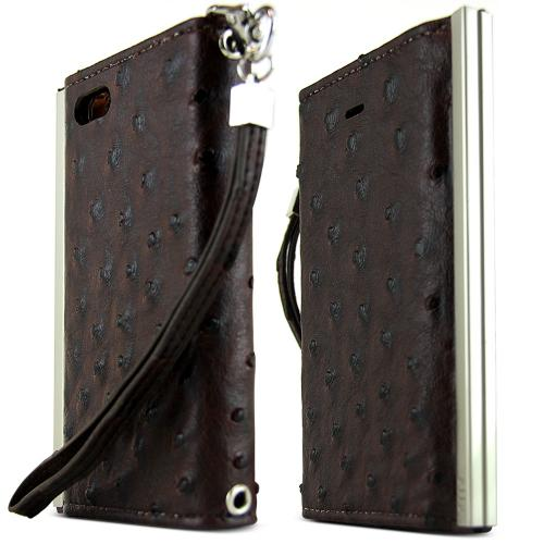 iPhone 5S Case Ella Ostrich Series [Brown Faux Ostrich] Slim & Protective Flip Cover Diary Case w/ ID Slots