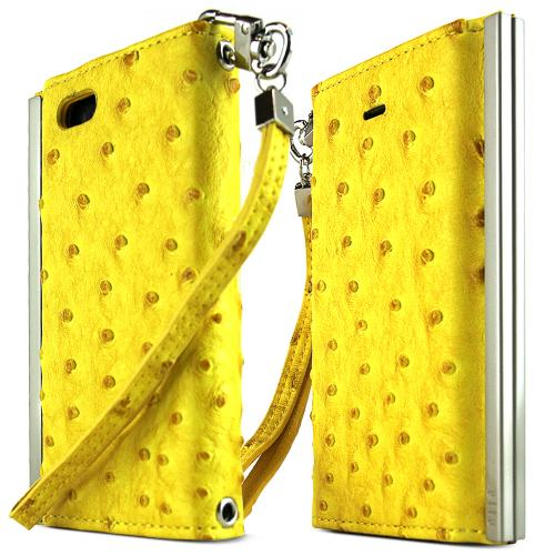 iPhone 5S Case Ella Ostrich Series [Yellow Faux Ostrich] Slim & Protective Flip Cover Diary Case w/ ID Slots