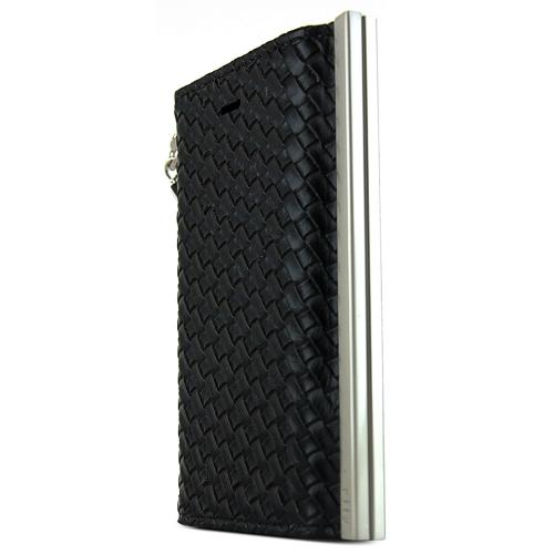 iPhone 5S Case Ella Mash Series [Quilted Black] Slim & Protective Flip Cover Diary Case w/ ID Slots