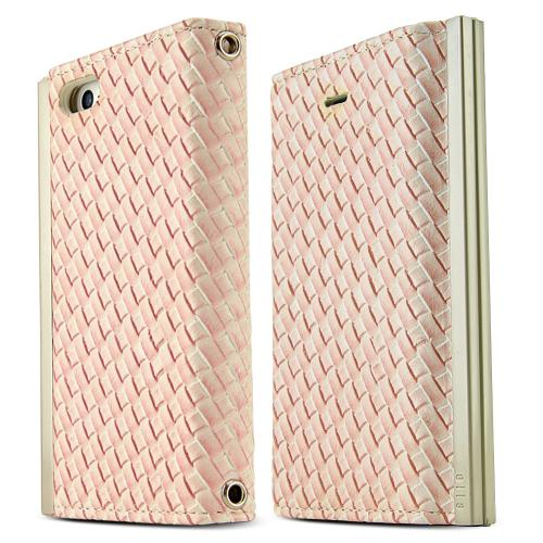 iPhone 5S Case Ella Mash Series [Quilted White / Peach] Slim & Protective Flip Cover Diary Case w/ ID Slots