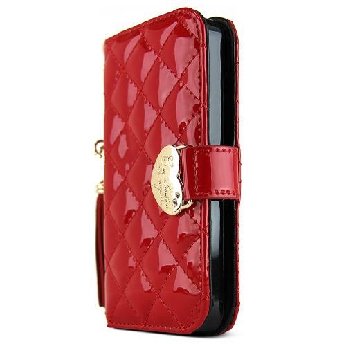 Apple iPhone SE / 5 / 5S Wallet Case, Nodea [Quilted Red] Mingnon Series Slim & Protective Flip Cover Diary Case W/ Id Slots & Magnetic Closure