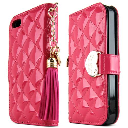 Apple iPhone SE / 5 / 5S Wallet Case, Nodea [Quilted Hot Pink] Mingnon Series Slim & Protective Flip Cover Diary Case W/ Id Slots & Magnetic Closure