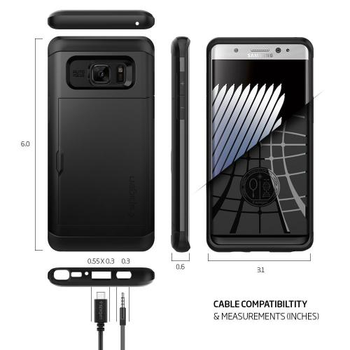 Samsung Galaxy Note 7 Case, Spigen [Slim Armor CS] Card Holder [Black] Slim Fit Dual Layer Protective with Card Slot Holder Wallet Case