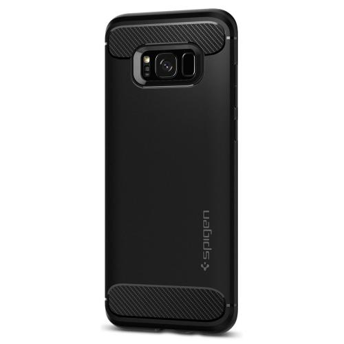 Samsung Galaxy S8 Case, [Spigen] Rugged Armor Case w/ Resilient Shock Absorption and Carbon Fiber Design [Black]