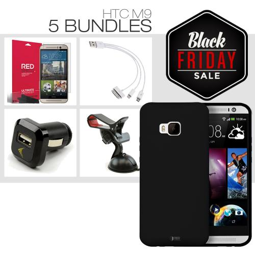 [HTC One M9][5 Essential Package] TPU Case + Screen Protector + Car Charger + Suction Car Mount + 3-in-1 Data Cable