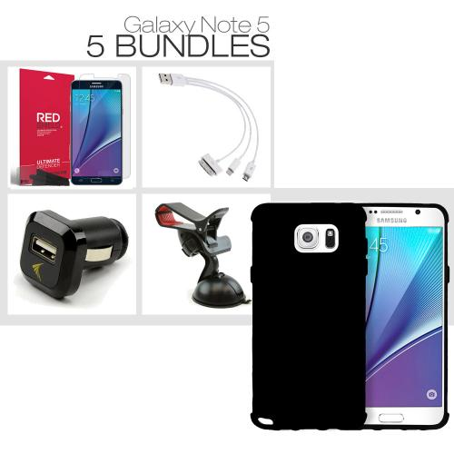 [Galaxy Note 5][5 Essential Package] TPU Case + Screen Protector + Car Charger + Suction Car Mount + 3-in-1 Data Cable