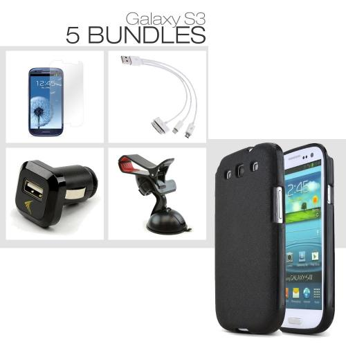 [Galaxy S3][5 Pack Bundle] TPU Case + Screen Protector + Car Charger + Suction Car Mount + 3-in-1 Data Cable