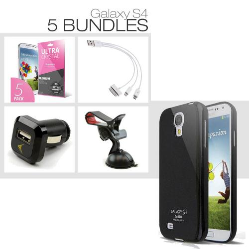 [Galaxy S4][5 Essential Package] TPU Case + Screen Protector + Car Charger + Suction Car Mount + 3-in-1 Data Cable