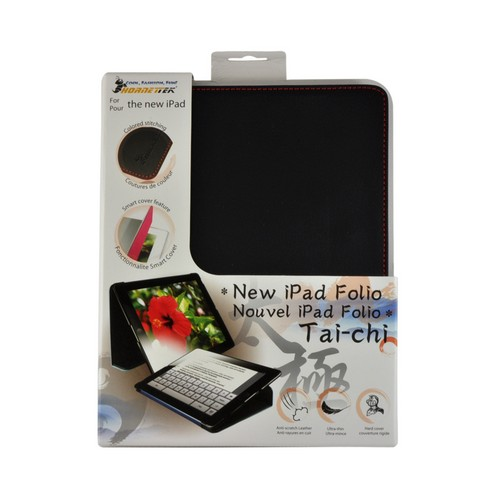 Hornettek Tai-chi Series Black Hard Case Folio w/ Red Stitching for Apple iPad (3rd & 4th Gen.)