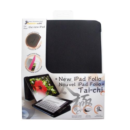 Hornettek Tai-chi Series Black Hard Case Folio w/ Orange Stitching for Apple iPad (3rd & 4th Gen.)