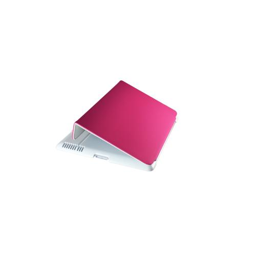 Hornettek Tai-chi Series White Hard Case Folio w/ Hot Pink Stitching for Apple iPad (3rd & 4th Gen.)