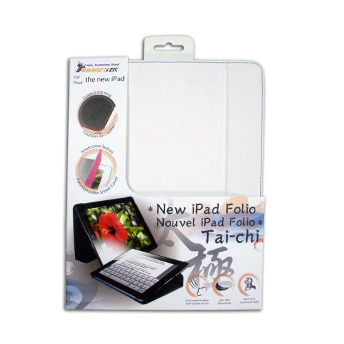Hornettek Tai-chi Series White Hard Case Folio w/ Blue Stitching for Apple iPad (3rd & 4th Gen.)