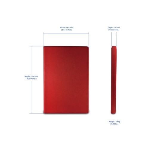 Hornettek Ozone Atom Series Red Hard Case Stand w/ Textured Lines & Card Slots for Apple iPad Mini