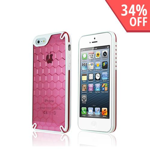 Apple iPhone SE / 5 / 5S  Case, Hornettek Ozone [Hot Pink/ White] Bee Hive Hybrid Case w/ Hexagonal Design