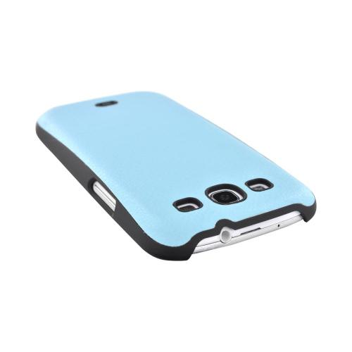 Samsung Galaxy S3 Leather Hard Back Case - Baby Blue/ Black