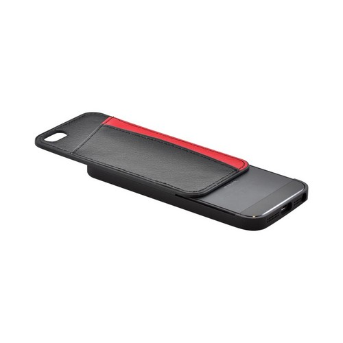 Premium Apple iPhone 5/5S Slide-On Hard Case w/ Leather Card Pocket - Red/ Black