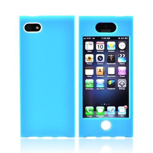 Premium Apple iPhone 5 Hard Case Over Silicone - Sky Blue/ White