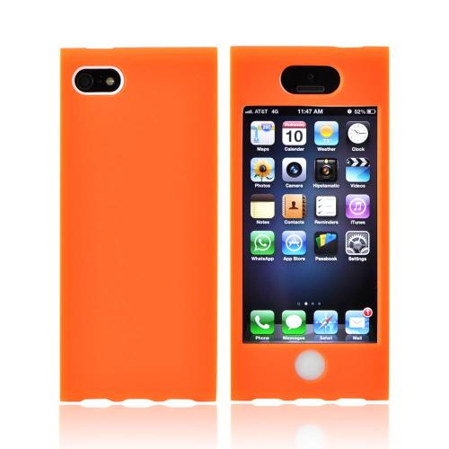 Apple iPhone SE / 5 / 5S Hard Case,  [Neon Orange/ White]  Premium Hard Case Over Silicone