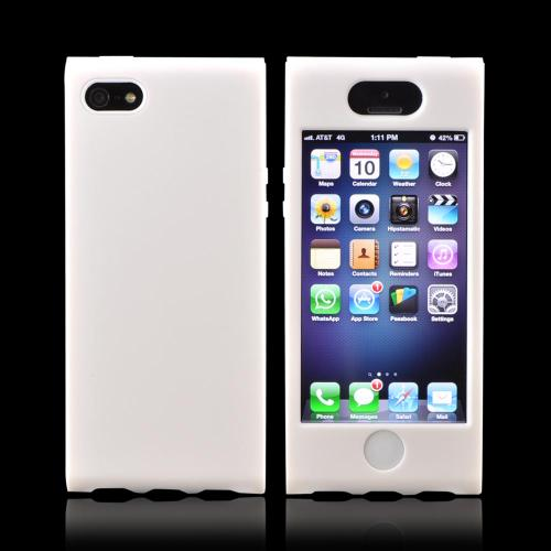 Apple iPhone SE / 5 / 5S Hard Case,  [White]  Premium Hard Case Over Silicone