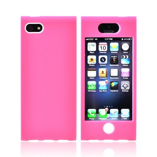 Apple iPhone SE / 5 / 5S Hard Case,  [Hot Pink/ White]  Premium Hard Case Over Silicone