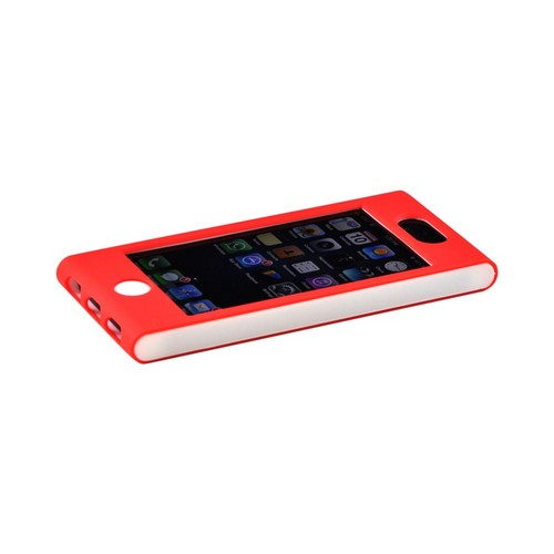 Premium Apple iPhone 5 Hard Case Over Silicone - Red/ White