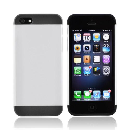 Premium Apple iPhone 5/5S Slide-On Hard Case - Black/ Frost White