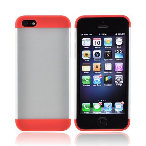 Premium Apple iPhone 5/5S Slide-On Hard Case - Red/ Frost White