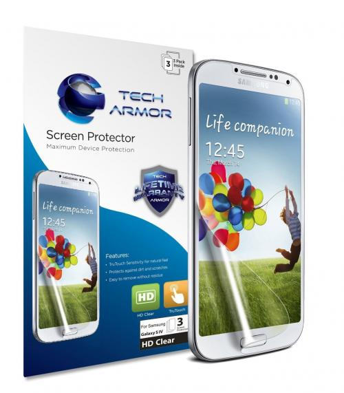 Tech Armor Samsung Galaxy S4 (Not S4 ACTIVE) High Definition (HD) Clear Screen Protectors [3-Pack]