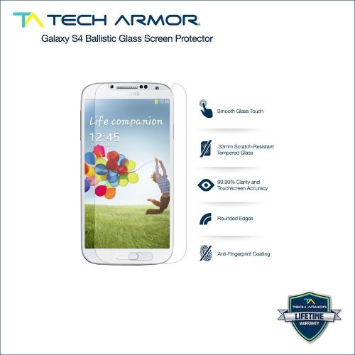 Tech Armor Samsung Galaxy S4 (not S4 Active) Premium Ballistic Glass Screen Protector - Protect Your Screen From Scratches And Drops