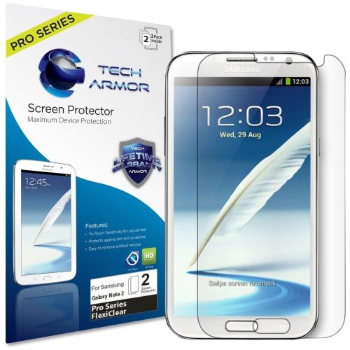 Tech Armor Samsung Galaxy Note 2 Premium TPU FlexiClear Screen Protector [2-Pack]